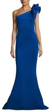Jovani One-Shoulder Bow Mermaid Gown $590 thestylecure.com