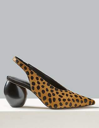 Autograph Suede Animal Print Slingback Court Shoes