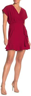 Just For Wraps Surplice Neck Cascade Ruffle Front Dress