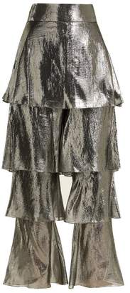 Osman Felix Lame Tiered Trousers - Womens - Silver