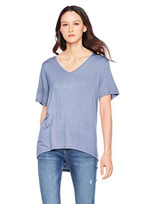 A.Dasher Women T-Shirt with Wide V-Neck Short Sleeve and High-Low Hemline