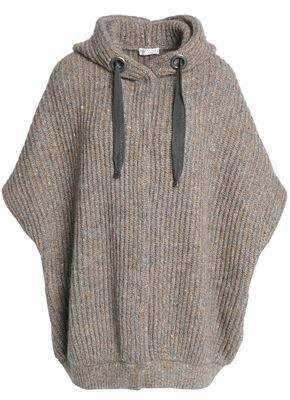 Brunello Cucinelli Bead-Embellished Marled Ribbed-Knit Hooded Cardigan