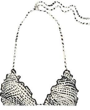 Vix Paula Hermanny Ruffle-trimmed Printed Triangle Bikini Top