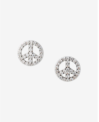 Express Cubic Zirconia Peace Sign Stud Earrings $12.90 thestylecure.com