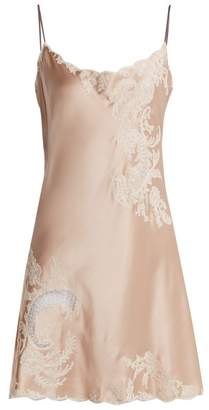 Carine Gilson Lace Trimmed Silk Satin Slip Dress - Womens - Light Pink