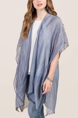 francesca's Ceanna Stitched Stripe Ruana - Oxford Blue