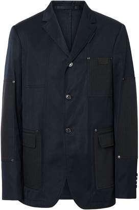 Burberry Herringbone Patch Detail Cotton Twill Blend Jacket