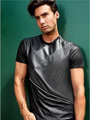GUESS Men's Short Sleeve Mason Pu Zip Crew Neck Shirt