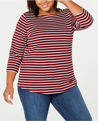 Charter Club Plus Size Cotton Printed 3/4-Sleeve T-Shirt