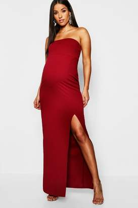 boohoo Maternity Bandeau Split Maxi Dress