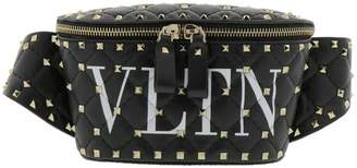 Valentino GARAVANI Belt Bag Rockstud Pouch In Genuine Quilted Leather With Metal Micro Studs And Vltn Print