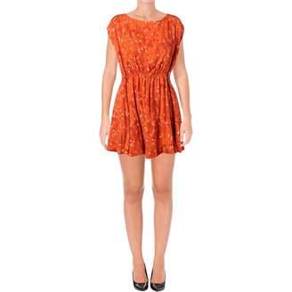 Free People Womens Fake Love Sleeveless Open Back Mini Dress Orange M