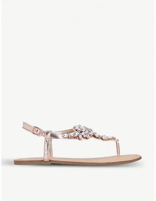 Nine West Shineforme jewel-embellished metallic sandals