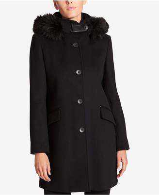 DKNY Faux-Fur-Trim Hooded Wool-Cashmere Blend Coat
