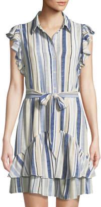 Julia Jordan Striped Woven Ruffle-Sleeve Mini Shirtdress
