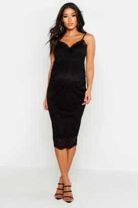 boohoo Maternity Strappy Lace Midi Dress