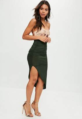 Missguided Khaki Ruched Side Asymmetric Midi Skirt
