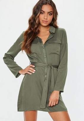 Missguided Khaki Tie Waist Utility Shirt Dress
