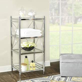 Linon Walker Chrome and Glass Four-tier Shelf