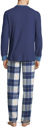 Psycho Bunny Men's Logo Long-Sleeve Flannel Pajama Set