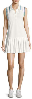 Tory Sport Pleated Polo Sports Dress, White
