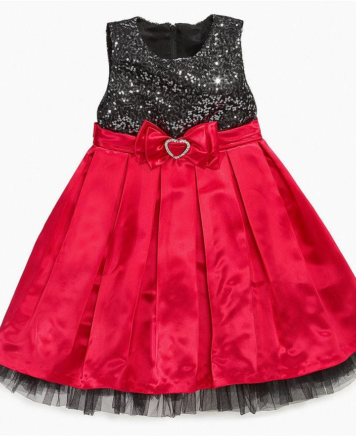 Nannette Girls Dress, Little Girls Sequin Top Dress