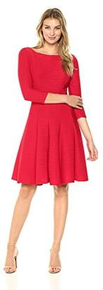 Julian Taylor Women's Long Sleeve Fit and Flare Pintuck Dress