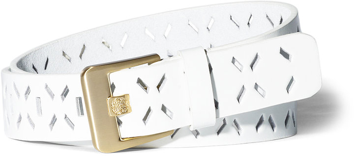 Vince Camuto Western Cutout Belt White