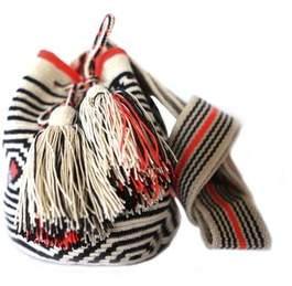 BEIGE La Maree Beige, Black Orange Small Cotton Riohacha Mochila Tassel Bag