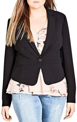 City Chic Plus Flutter Notch-Collar Jacket