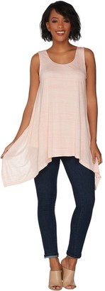 Halston H By H by Striped Scoop-Neck Handkerchief Hem Tank