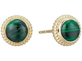 Shinola Detroit Coin Edge Earrings with Malachite