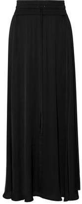 Enza Costa Pleated Cotton-Voile Maxi Skirt