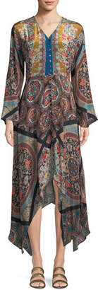 Tolani Clara V-Neck Button-Front Long-Sleeve Mixed-Print Maxi Dress w/Handkerchief Hem