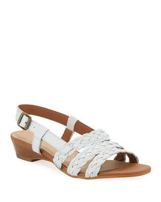 Sesto Meucci Gia Woven Leather Slingback Sandals, White