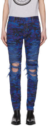 Balmain Blue Camo Slim Jeans