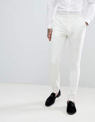 Asos Design DESIGN Wedding Super Skinny Tuxedo Suit Pants In Cream