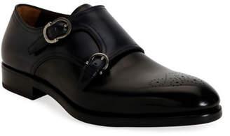 Salvatore Ferragamo Men's Brighton Tramezza Double-Monk Leather Loafers