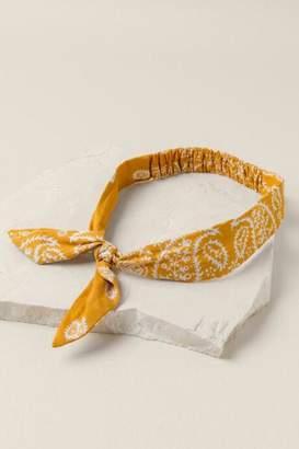 francesca's Lisa Bandana Print Bow Headwrap In Marigold - Marigold