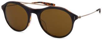 Barton Perreira Men's Vanguard Round Metal Sunglasses