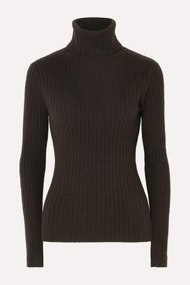Allude Ribbed Cashmere Turtleneck Sweater - Brown