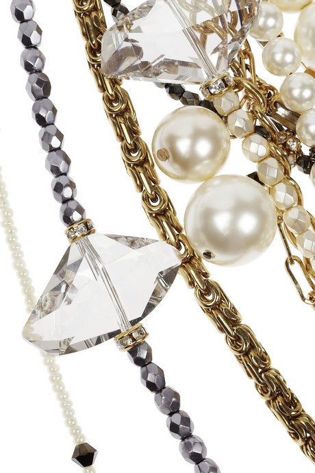 Erickson Beamon Girlie Queen gold-plated, Swarovski crystal and faux pearl necklace
