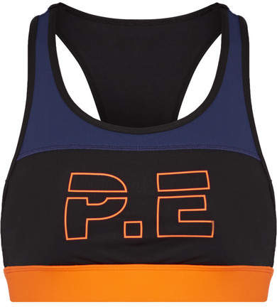 P.E Nation - For The Count Color-block Printed Stretch Sports Bra - Black