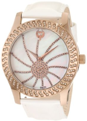 Brillier 【日本未発売】 ブリエ) Women's 03-52424-11 Kalypso Bronze-Plated White Leather Watch