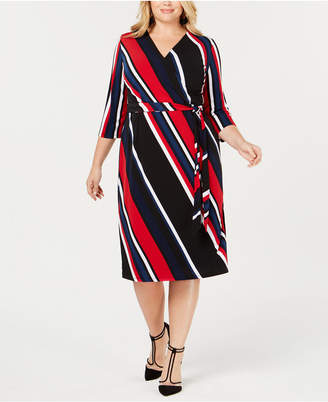 INC International Concepts I.N.C. Plus Size Striped Faux-Wrap Dress, Created for Macy's