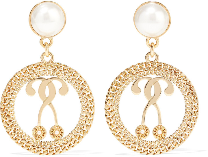MoschinoMoschino Gold-tone faux pearl earrings