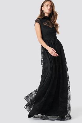 Na Kd Party Lace High Neck Maxi Dress Black