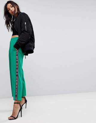 Asos DESIGN Premium Scuba Wide Leg Joggers with Printed Side Tape