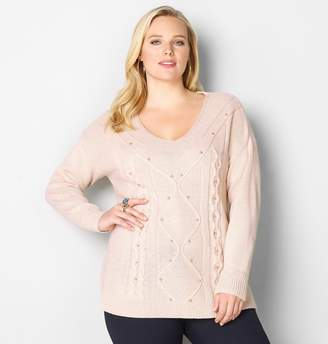 Avenue Pearl Embellished Cable Knit Sweater