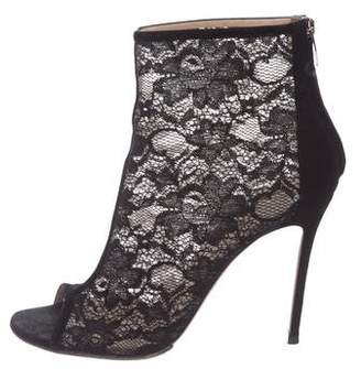 Gianvito Rossi Lace Peep-Toe Ankle Boots